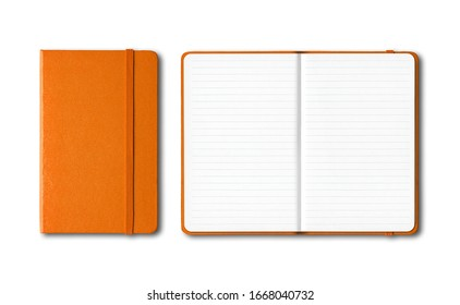 Orange closed and open lined notebooks mockup isolated on white - Shutterstock ID 1668040732