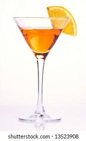 Orange cocktail on white background