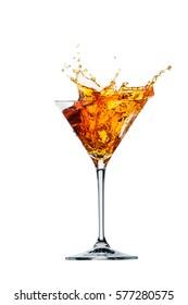 Orange cocktail splash. Spritz Aperol. Isolated on white background.