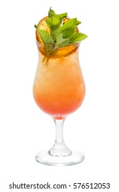 Orange coctail with mint leaves close-up