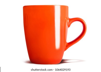 Orange coffe tea cup on white background with shadow, isolated.