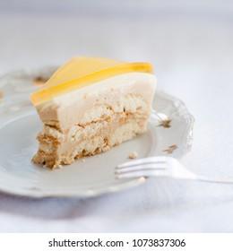 Orange & coffee No-bake cheesecake 3 layers