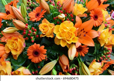 Orange coffin flowers