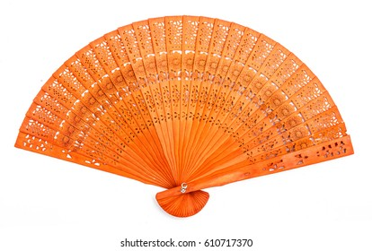 Orange Color Engraved Design Wooden Hand Fan Isolated on White