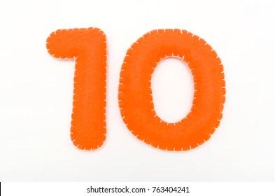 Orange color felt numeral 10
