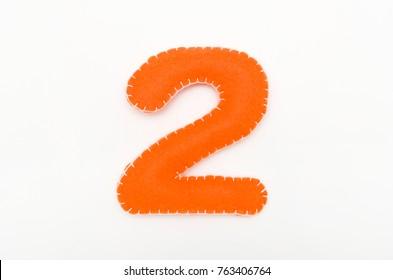 Orange color felt numeral 2