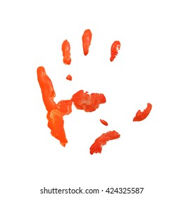 Orange color hand print isolated on white background.