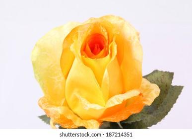 orange colorful textile rose closeup