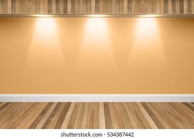 Orange colors wall & wood floor interior with light spots,3D illustration