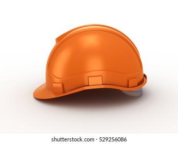 Orange construction helmet. 3d rendering on white background