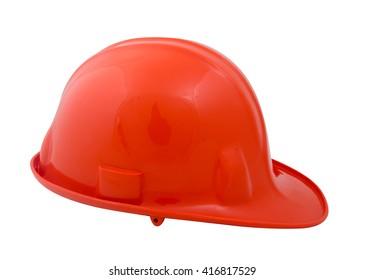 orange construction helmet on a white background.