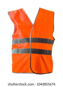 Orange construction jacket isolated on white background