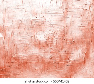 Orange copper painted canvas with brush strokes. Metallic effect background for card or banner template. Metallic copper acrylic paint on paper closeup photo. Optimistic backdrop for paper design