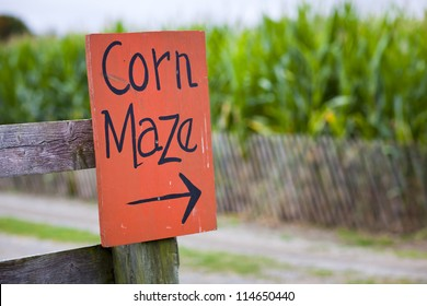 Orange corn maze sign with directional arrow