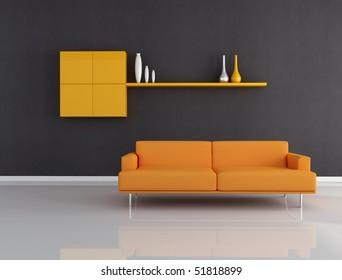 Orange Couch In Minimalist Black Interior Rendering