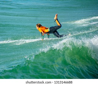 Orange County, CA / USA - Feb 2, 2019: Surfer Girl Performs