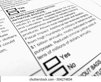 Orange County, CA, USA - October 20, 2016: Ballot form on marijuana legalization.