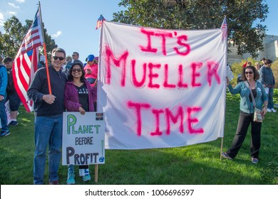Orange County California - January 20, 2018. Woman's march and government protest on the one year inauguration of Trump. Robert Mueller sign. FBI.