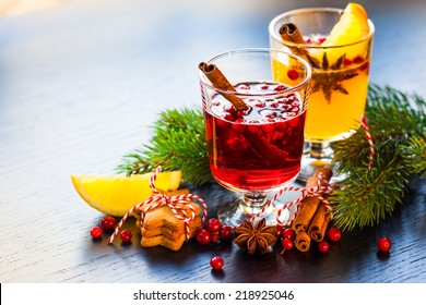 Orange and cranberry punch for winter and Christmas