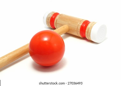 Orange Croquet Mallet and Ball isolated on white