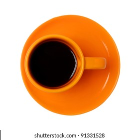 orange cup isolated on white background
