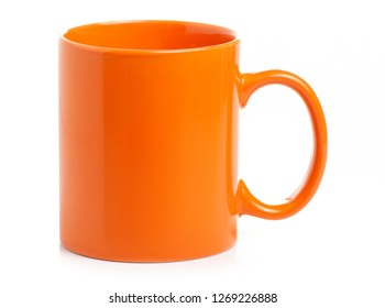 Orange cup mug drink on white background isolation
