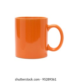 orange cup on a white background