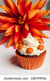 Orange cupcake for Queensday or Dutch football fans