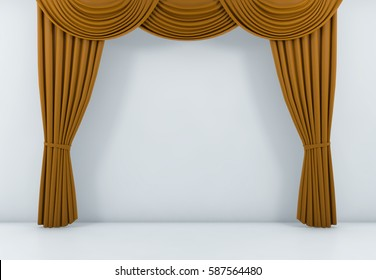 Orange Curtain Or Drapes Background Scene. 3d Rendering
