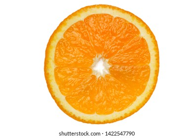 Orange in a cut close-up, isolate on a white background.