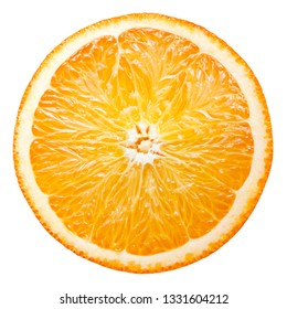Orange cut fruit. Orang slice top view isolate. Half of orange isolated on white with clipping path.