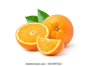 Orange  with cut in half and green leaves isolated on white background.  - Shutterstock ID 1927497314