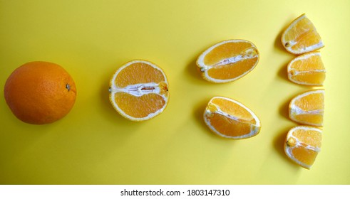 Orange cut into pieces on a yellow background. From one whole orange to small pieces. A clear indication of the division on an orange. Little pieces are laid out straight