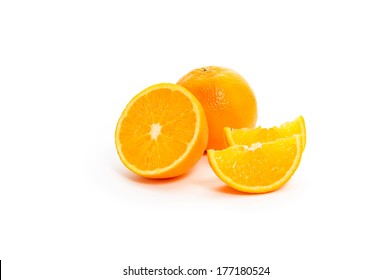orange cut into sections isolated on white background