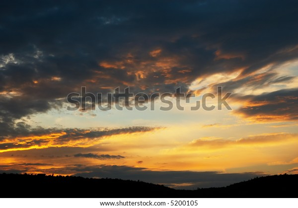 orange and dark gray colored cloudy sunset