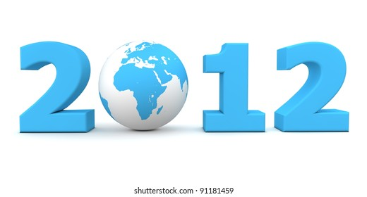 orange date 2012 with a 3D globe replacing number 0