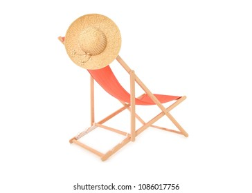 Orange Deckchair with sunhat on a white background taken in the studio, space for text.