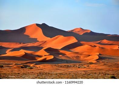 Orange desert dunes on the sunset, Deadvlei, Sossusvlei, Namibia, Africa