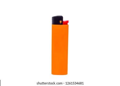Orange disposable lighter on white isolated background