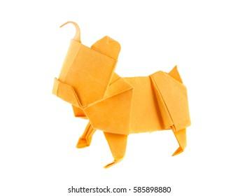 Orange dog bulldog of origami, isolated on white background.