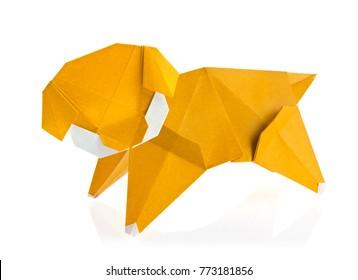 Orange dog of origami, isolated on white background