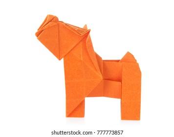Orange dog of origami, isolated on white background.