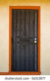 Orange door trim and black security door