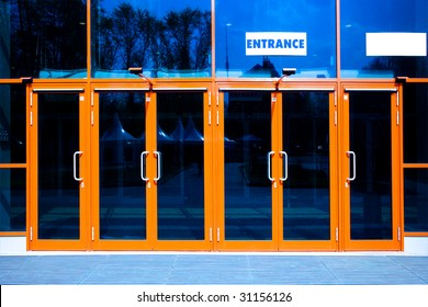 orange doors of modern trade center