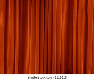 orange drapes with satin velvet light effect