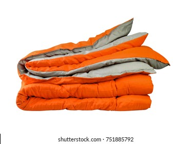 Orange Duvet quilt  isolated, clipping path.