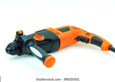 orange electric drill with handle isolated on white background