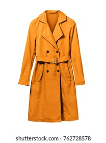 Orange elegant woman autumn coat isolated white