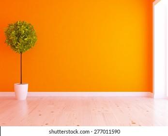 Orange empty interior. 3d rendering