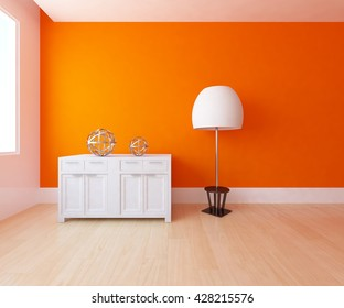 orange empty interior with a dresser and a big white lamp. 3d illustration